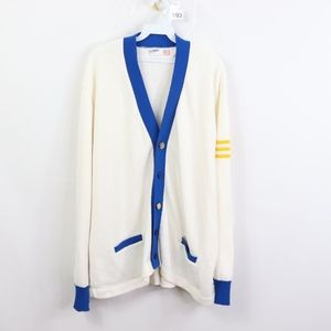 70s Mens XL Striped Varsity Cardigan Sweater White